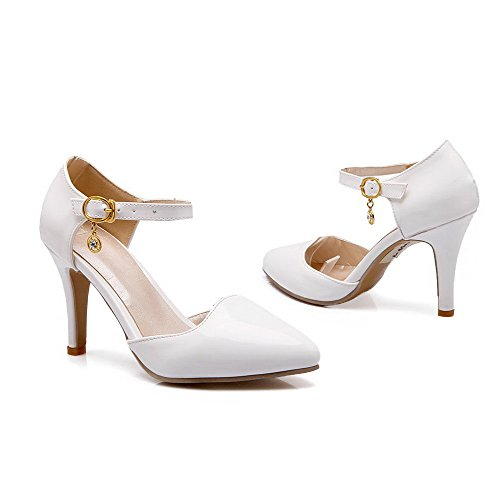 AllhqFashion Womens Solid Pu Spikes Stilettos Pointed Closed Toe Buckle Pumps Shoes White FTm1HNT4Pd