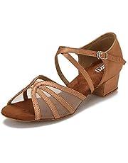 CLEECLI Low Heel Ballroom Shoes Latin Salsa Dance Shoes for Social Beginner Practice Dancing 1.5 Inch Heel ZB14