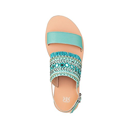 Redoute Blue Leather Womens Fringing Sandals with La Collections pdqUxp8
