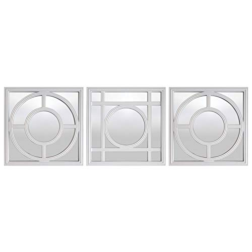 (WHW Whole House Worlds Hampton Mirrors, 3 Piece Set, Circles and Squares Lattice, Brilliant Reflective Glass, Rustic White, Beveled Plastic Frame, Each 9 3/4 x 9 3/4 Inches)