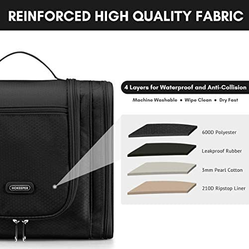 Hanging Toiletry Bag for Women and Men, Travel Toiletries Organizer for Kids and Girls, Extra Large Cosmetic Makeup Bag with Hook, Waterproof Shaving kit Bag Bathroom Shower Bag 13 x 11 x 6.3 inch