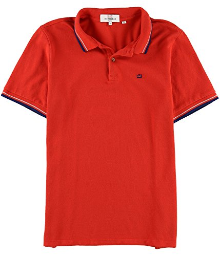 Ben Sherman Mens Contrast Texture Rugby Polo Shirt, Red, Medium