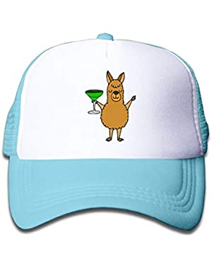 Llama Drinking Beverages On Kids Trucker Hat, Youth Toddler Mesh Hats Baseball Cap