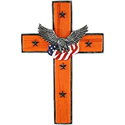 Pine Ridge Stunning Orange Harley Motorcycle Wall Cross with Eagle/American Flag Center