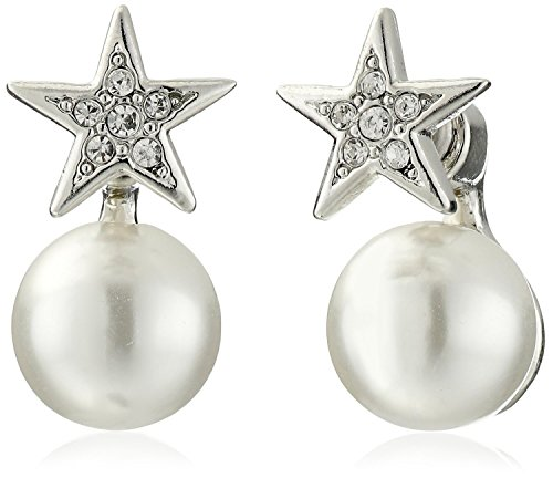 Kenneth Jay Lane Crystal Star Front and Faux Pearl Back Stud Earrings - Kenneth Lane Faux Earrings