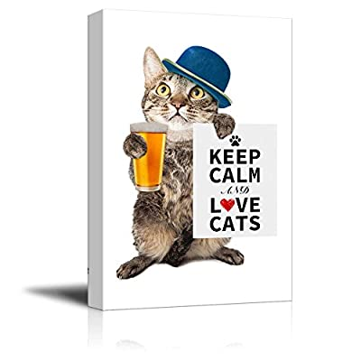 Canvas Wrap Wall Art - Keep Calm and Love Cats | Modern Wall Art Stretched Canvas Prints Ready to Hang - 16