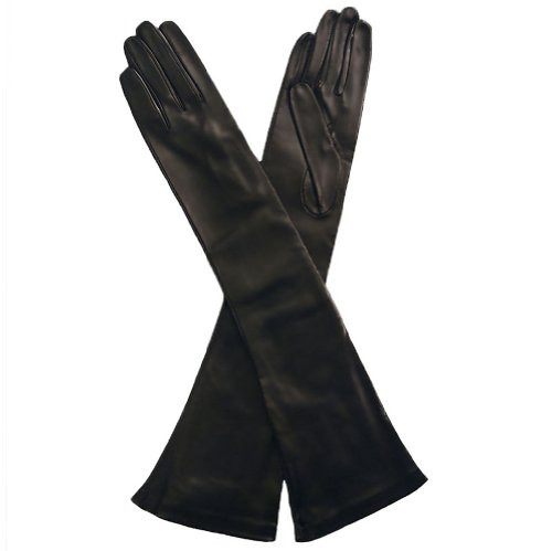 Opera Length Italian Leather Gloves. Lined in Silk. 12''. By Solo Classe (9, Black) by Solo Classe