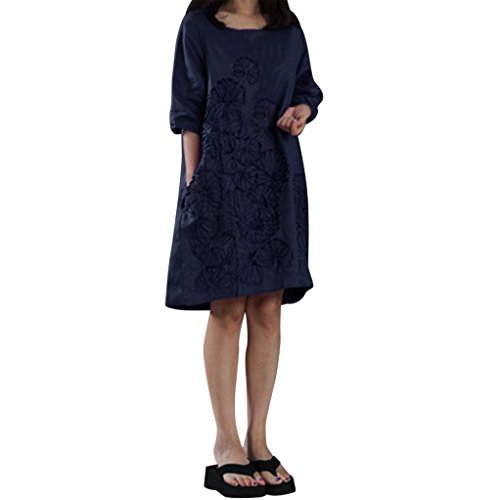 Srogem Womens Dress Women Tunic Dress, Half Sleeve Cotton Linen Loose Midi Dresses Floral Emboridery with Pockets Plus Size (S, Navy) by Srogem Womens Dress