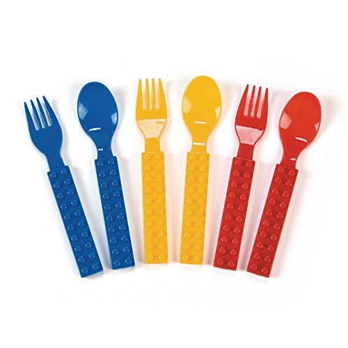 Plastic Color Brick Party Fork amp Spoon Set  16 pcs