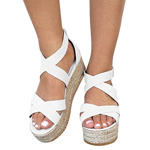 Kathemoi Womens Platform Espadrilles Strappy Open Toe Ankle Mid High Wedge Flatform Sandals White