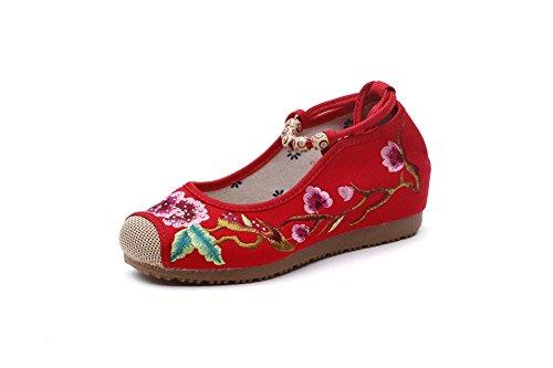 Lazutom Lace Schuhe Chinesischen Rot Dame Jane Up Stil Vintage Kleid Stickerei Frauen Mary rHnraPZY