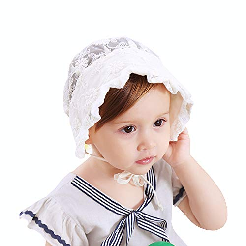 Toddlers Baby Girl Breathable Lacy Bonnet Eyelet Cotton Adjustable Sun Protection Hat Christening Bonnet (Rice White) ()