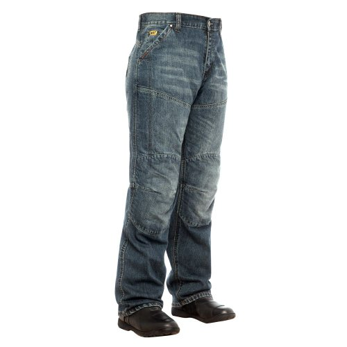 Agv Sport (BILT IRON WORKERS Steel Motorcycle Jeans - 34, Distressed Denim)