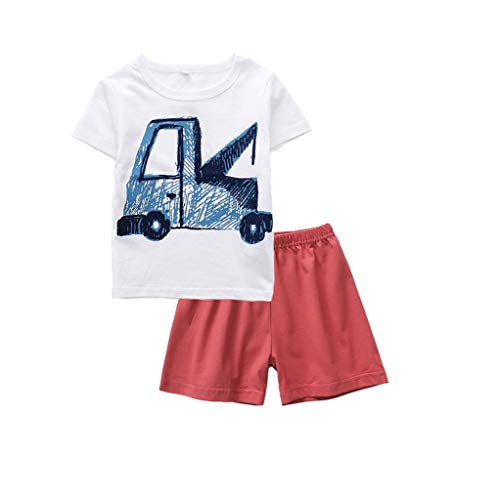 NUWFOR Toddler Baby Boy Cartoon Giraffe Tops T-Shirt Solid Shorts Outfits Sleepwears (White,4-5 -