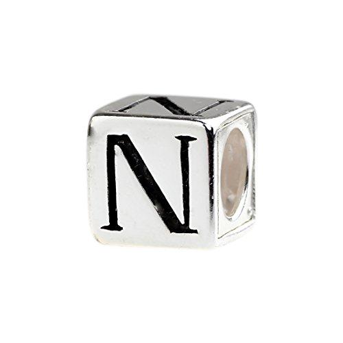 """Beads Hunter 925 Sterling Silver Letter """"N"""" Charm For European Bracelet"""