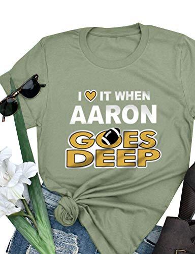 ZXH Women Cartoon I Love IT When Aaron GOES DEEP Letter Print Short Sleeve Pullover Shirt Tops