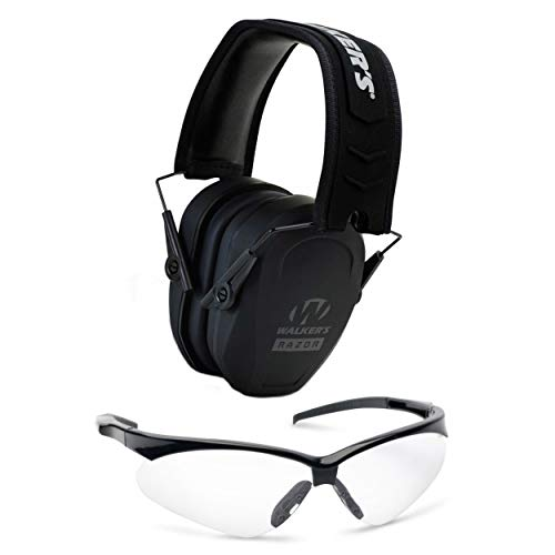 Walker039;s Game Ear Range Safety Kit: Razor Slim Passive Hearing Protection Muffs & Crosshair Protective Glasses