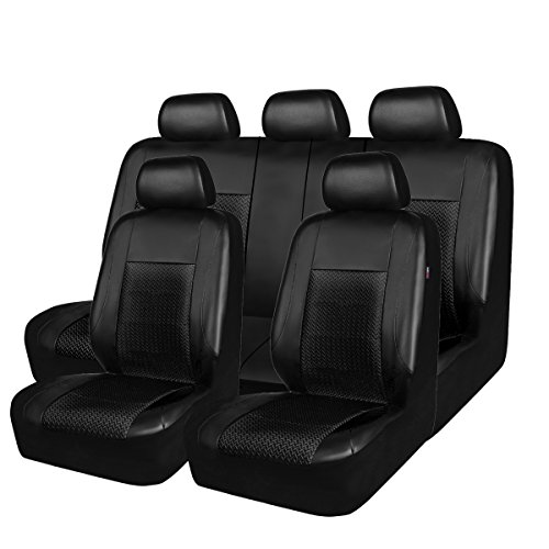NEW ARRIVAL -HORSE KINGDM Universal Car Seat Covers Protectors Faux Leather&Air-mesh Full Seat Airbag Compatible (full seat, full black)