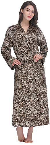 Cheetah Bath - Sunrise Women's Long Classic Satin Kimono Lounge Bathrobe Robe(Medium,Leopard)