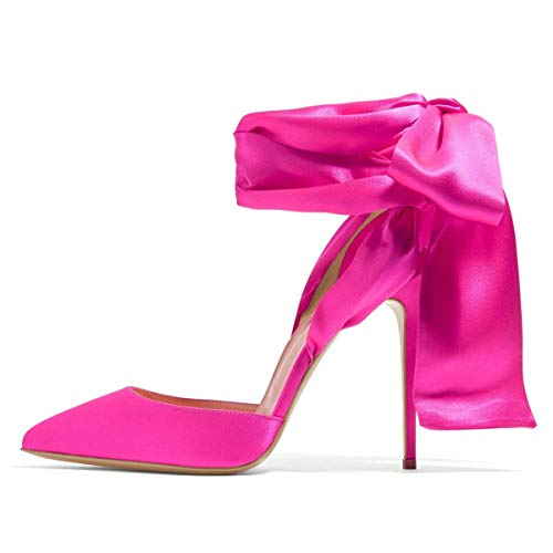 FSJ Women Strappy Ankle Wrap Sandals Pointed Toe High Heels D'Orsay Slingback Pumps Shoes Size 8.5 Hot Pink