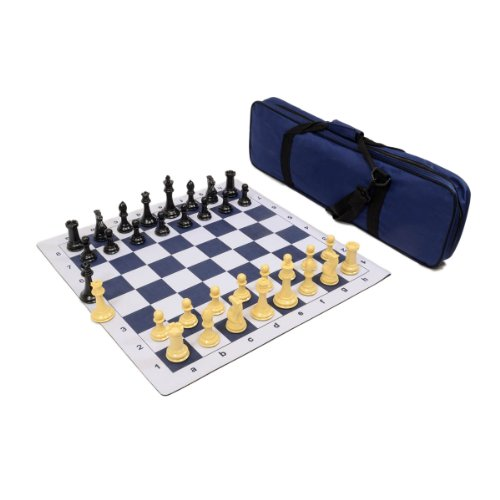 - Premier Tournament Chess Set Combo with Natural Pieces - Navy Blue