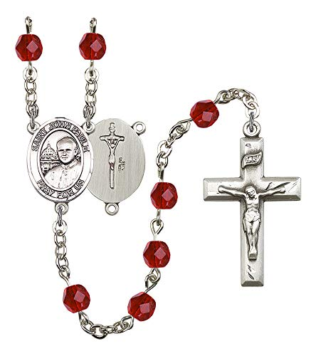 (Silver Plate Rosary features 6mm Ruby Fire Polished beads. The Crucifix measures 1 3/8 x 3/4. The centerpiece features a ST. JOHN PAUL II medal. Patron Saint)