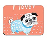 yyoungsell Cotton I Love Pug Entrance Rug 16''x 24'' Shoes Scraper Machine Washable Carpet Brownish Tan