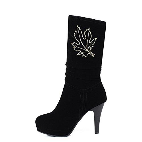 AllhqFashion Mujeres Gamuza(Imitado) Caña Media Sólido Sin cordones Tacón Alto Botas Negro