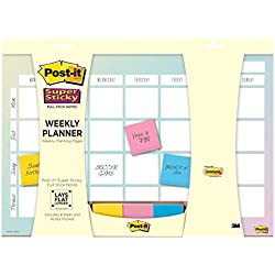 3M Post-it planeador semanal color acuarela de 18 x 12 in con 1 block, 26 hojas c/u