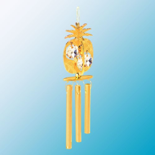 Gold Plated Pineapple Wind Chime with Swarovski Crystals -  Mascot International, Inc. U.S.A., 6
