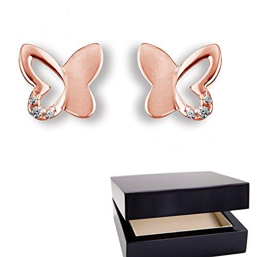 Schmetterling Ohrstecker Rotgold (Silber 925 hochwertig vergoldet) mit Zirkonia + inkl. Luxusetui + echt Silber Ohr Stecker kleiner Schmetterling mit Steinchen wie Diamant Ohrringe FF538VGRTZIFA
