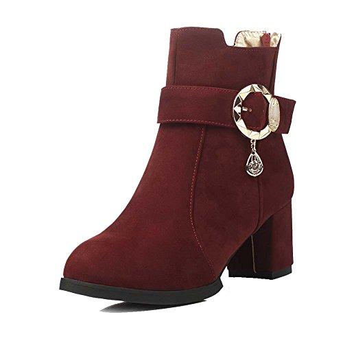 Allhqfashion Mujeres Round Closed Toe Kitten-heels Frost Low-top Botas Sólidas Claret