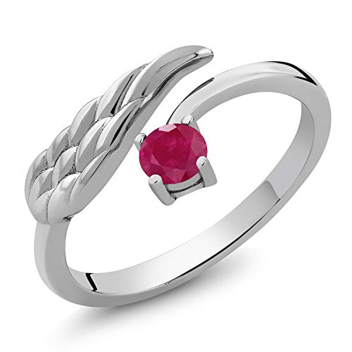 Gem Stone King 925 Sterling Silver Red Ruby Wing Ring for Women (0.30 Cttw 4MM Round Gemstone Birthstone) (Size 6)