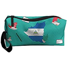 WEEDKEYCAT Nicaragua Map Flag Travel Cosmetic Bag Pen Pencil Portable Toiletry Brush Storage,Multi-function Accessories Sewing Kit Bags Pouch Makeup Carry Case With Zipper