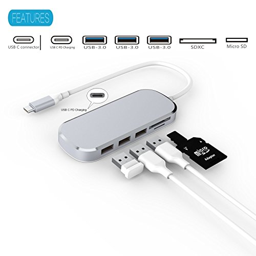 USB C Hub Combo Aluminum Multi-Port Adapter with Type-C 3.0 Charging 3 USB 3.0 Ports, USB3.0 SD/Micro SD Card Reader by Coling