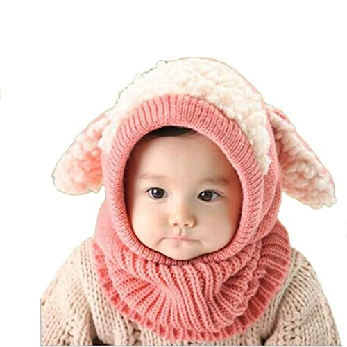 Baby Girls Boys Winter Warm Hats Scarf with Cute Ear Flaps Hood Scarves + Caps for 6-36 Months (Pink)