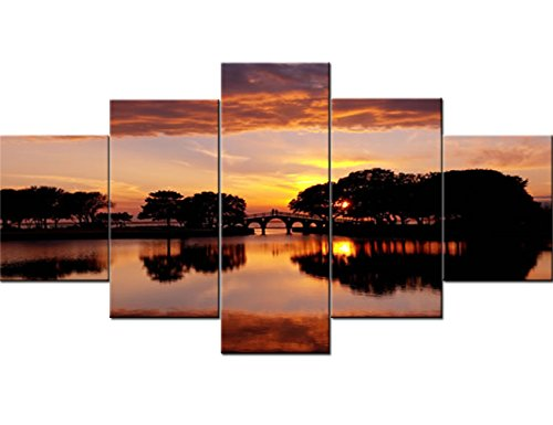 Native American Art 5 Piece Canvas North Carolina Overlooking the Tranquility Bridge Paintings Modern Artwork Home Decor for Living Room Giclee Framed Ready to Hang Posters and Prints(60''Wx32''H)