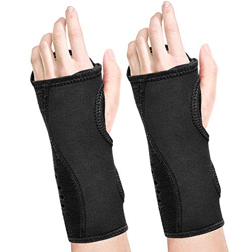 Fibee Night Wrist Sleep Support Brace, Palm Cushion Relieves Carpal Tunnel, Tendonitis, Ulnar Pain Etc, Wrist Splint for Men and Women, Night Wrist Brace with Metal Support for Right Left Hand(Pairs)