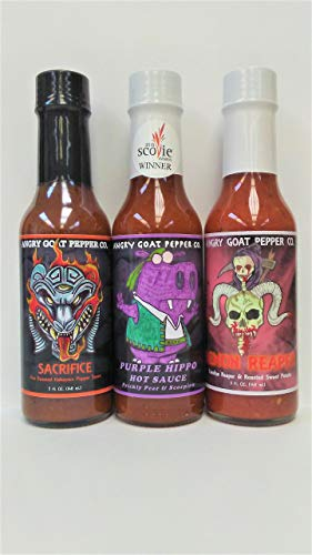 3-Pack Angry Goat Hot Sauce - Sacrifice, Purple Hippo, Demon Reaper (Agave Cactus Juice)