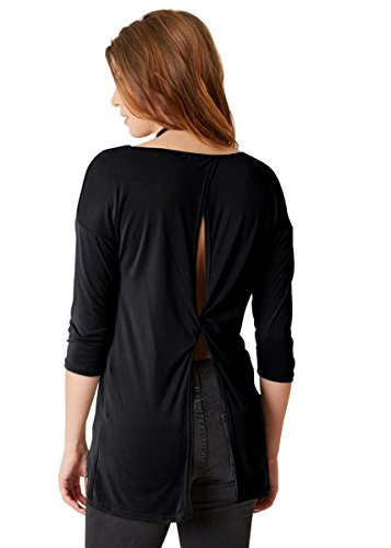 Yucharmyi Women's Basic Soft Pleated Scoop Neck Stretchy Loose Tops Sleeveless Long Sleeve Plunge Neck Active Thumb Hole Twist-Back Tee Blouse Backless Knit T Shirt Yoga Tank Tops (Black, (Womens Scoop Back Tees)