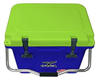 ORCA ORCBL/CH020 Cooler with Single Flex-Grip Stainless Steel Handle for Simple Solo Portage, 20 quart, Blue/Chartreuse