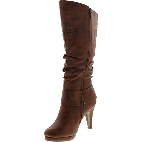 Image of Top Moda Womens Page-22 Knee High Round Toe Buckle Slouched Low Heel Boots, Tan, 7