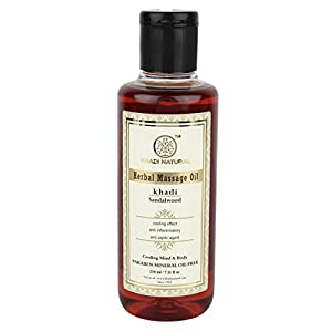 KHADI NATURAL Ayurvedic Sandalwood Massage Oil, Paraben and Mineral Oil Free, 210ml
