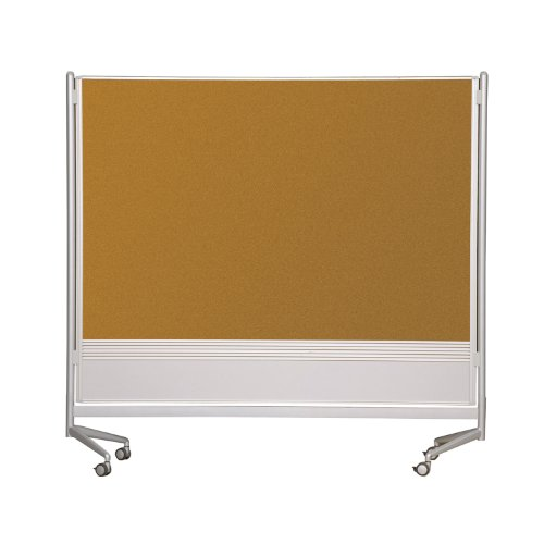 Best-Rite DOC Mobile Whitebooard Room Partition and Display Panel, Dura-Rite Markerboard & Natrural Cork, 4 x 4 Feet (661AD-HC) by Best-Rite
