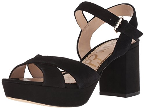 Designer Platform - Sam Edelman Women's Jolene Heeled Sandal, Black Suede, 8.5 M US