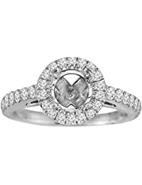 14k White Gold 1/2ct Diamond Semi Mount Halo Engagement Ring Fits 1.00ct