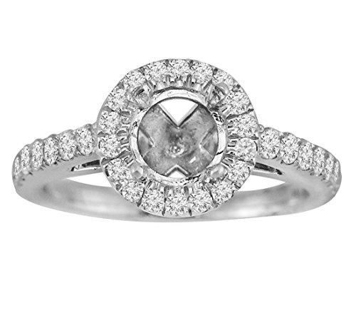 14k White Gold 1/2ct Diamond Semi Mount Halo Engagement Ring Fits (Womens Diamond Semi Mount)