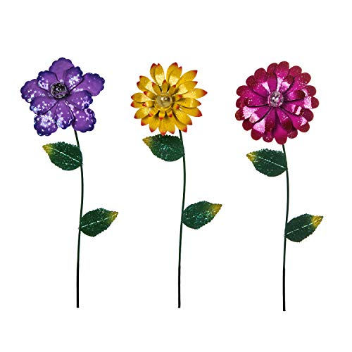 Topadorn Floral Garden Stake Outdoor Glow in Dark Plant Pick Water Proof Metal Flower Stick Décor for Lawn Yard Patio,3 asst