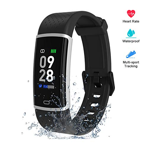 Fitpolo Fitness Tracker with Heart Rate Monitor, Smart Watch Waterproof Step Calorie Counter Pedometer Watches Activity Tracker for Women Men Kids Black