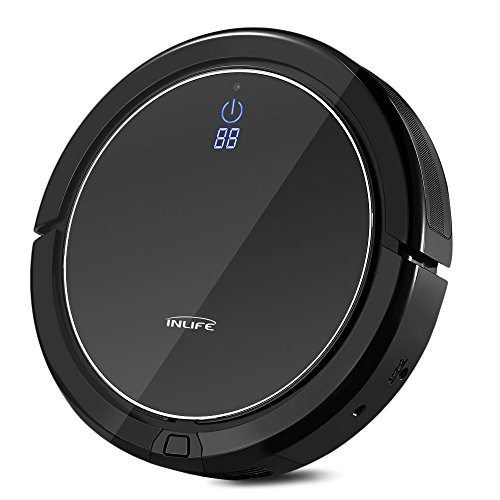 (INLIFE i7 Self Charging Robotic Vacuum Cleaner with Strong Suction, Drop Sensing Technology for Hard Floor and Low Pile Carpet (Black))